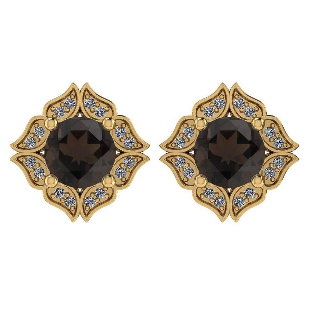 Certified .98 Ctw Genuine Smoky Quartz And Diamond 14k Yellow Gold Halo Stud Earrings #PAPPS94502