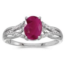 Lot 20161075: Certified 10k White Gold Oval Ruby And Diamond Ring #PAPPS51484