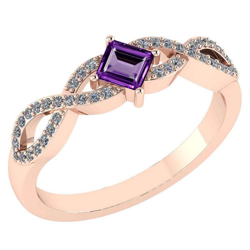 Lot 20161076: Certified .60 Ctw Genuine Amethyst And Diamond 14K Rose Gold Rings #PAPPS92637