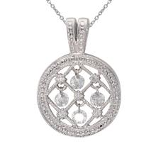 Lot 20161079: Certified 14K White Gold Dashing Diamonds Pendant #PAPPS26344