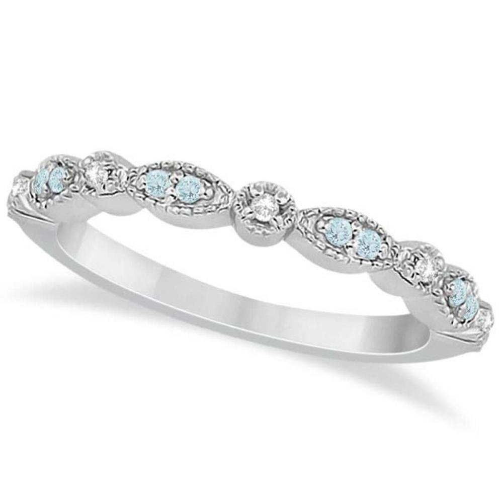 Lot 20161081: Marquise and Dot Aquamarine Diamond Wedding Band 14k White Gold 0.25ct #PAPPS21228