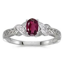 Lot 20161082: Certified 14k White Gold Oval Rhodolite Garnet And Diamond Ring #PAPPS50763