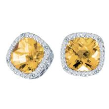 Lot 20161085: Certified 14k White Gold Cushion Cut Citrine And Diamond Earrings #PAPPS26500