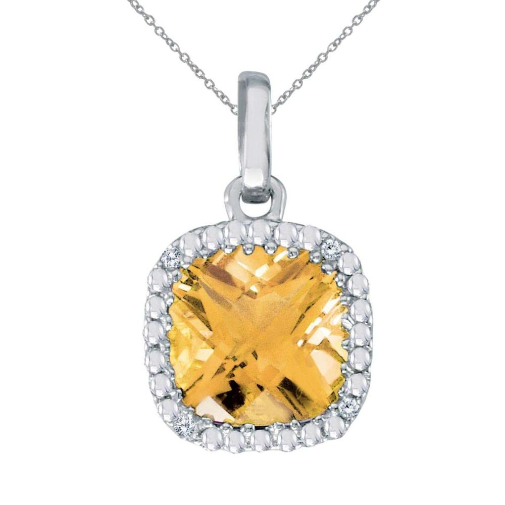 Lot 20161087: Certified 14k White Gold Cushion Cut Citrine And Diamond pendant #PAPPS26505