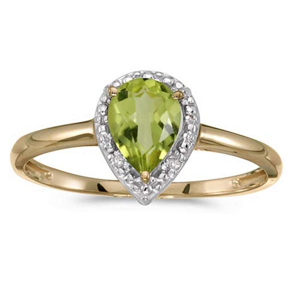 Lot 20161094: Certified 10k Yellow Gold Pear Peridot And Diamond Ring #PAPPS51502