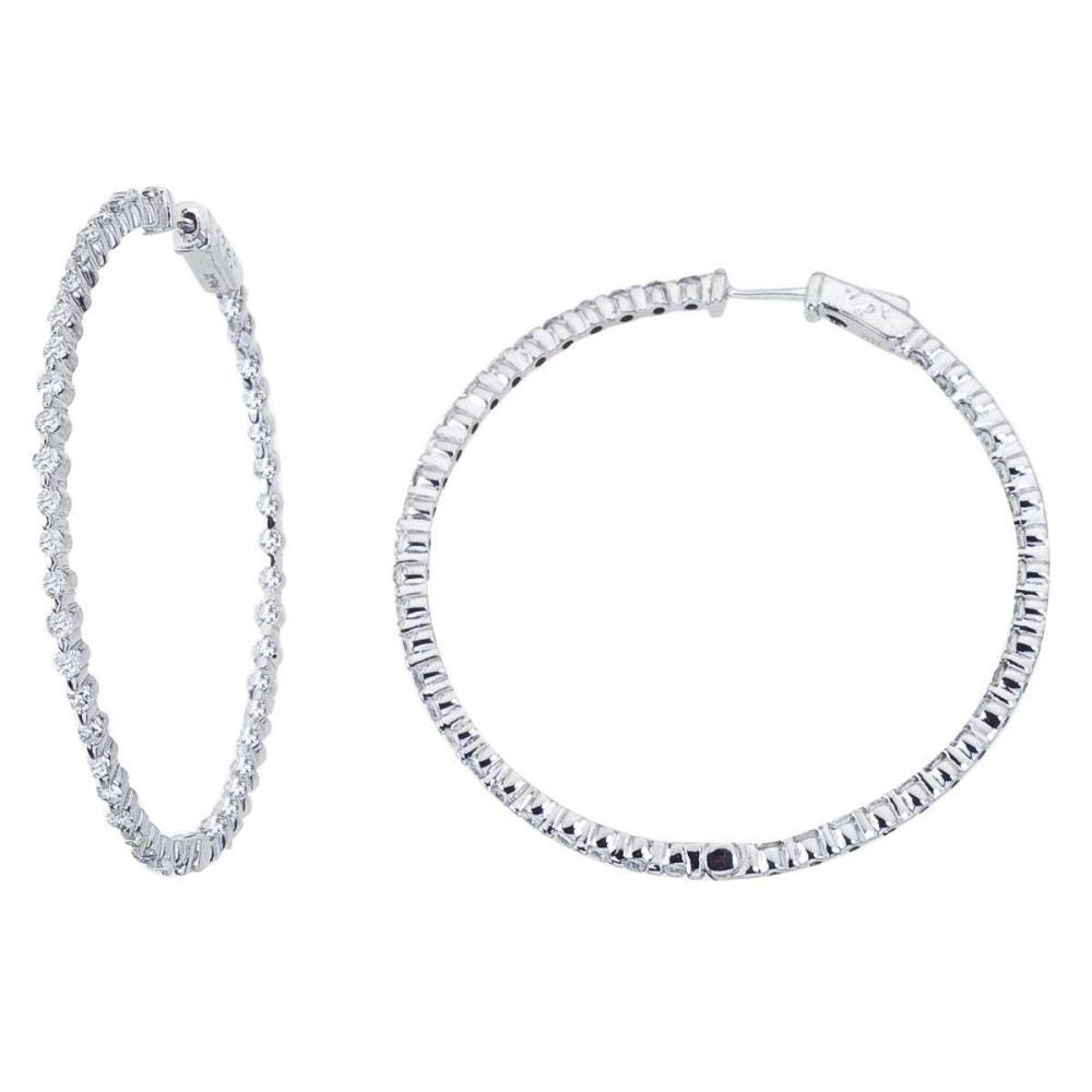 Lot 20161095: Certified 14K White Gold 2.7 Ct Diamond 50mm Round Secure Lock Hoop Earrings #PAPPS26547