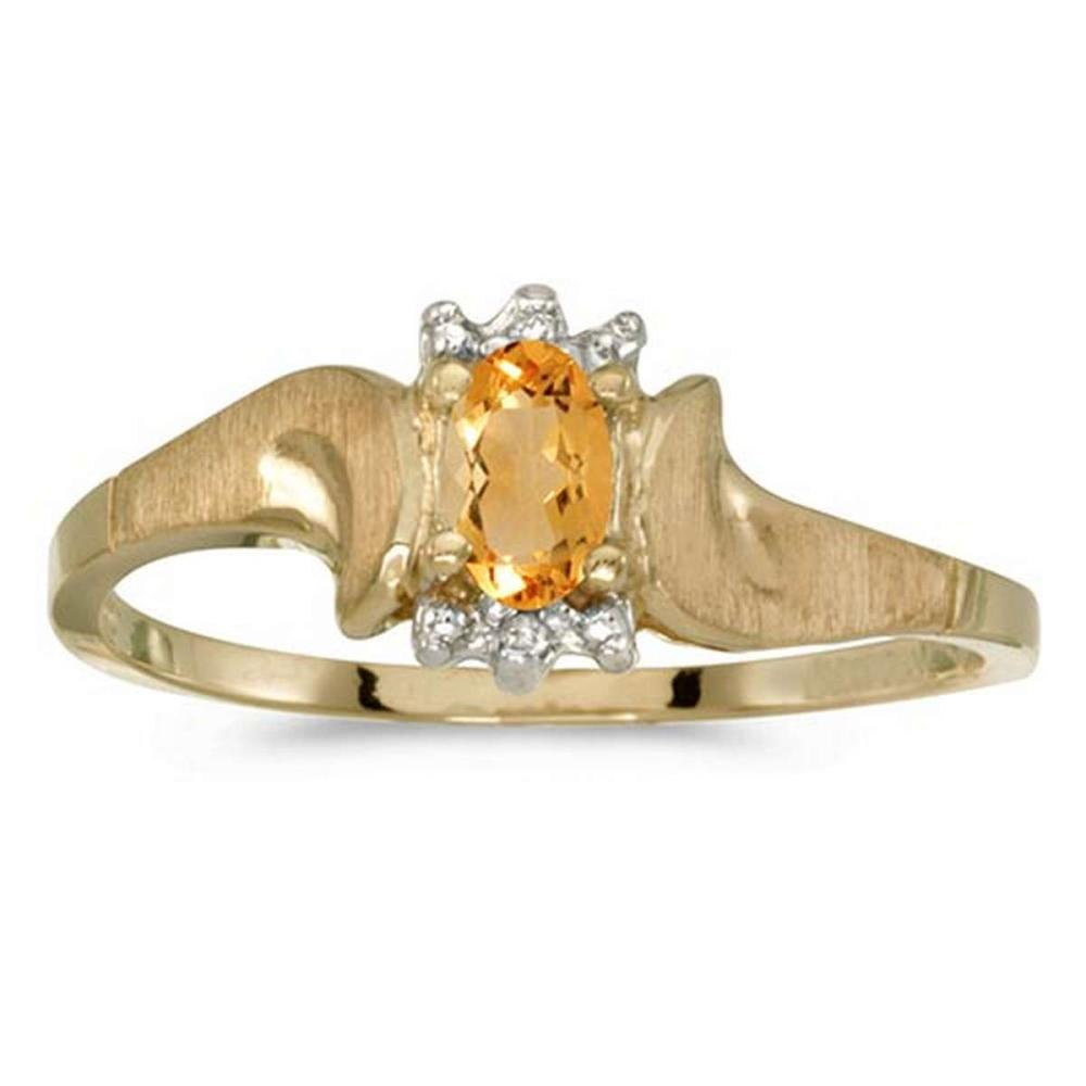 Lot 20161096: Certified 10k Yellow Gold Oval Citrine And Diamond Satin Finish Ring #PAPPS50793