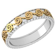 Lot 20161098: Stunning Filigree Engagement Band 18K White And Yellow Gold MADE IN ITALY #PAPPS21269