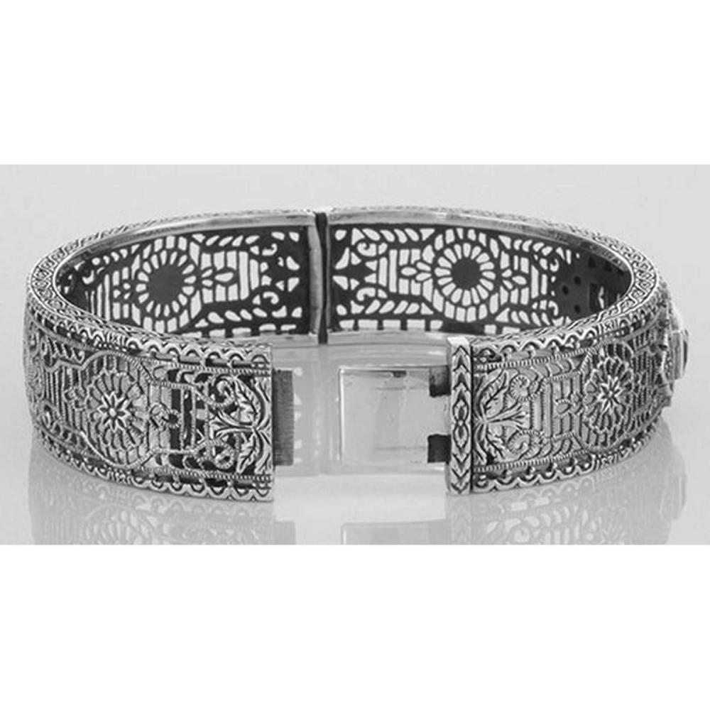 Lot 20161102: Art Deco Style Filigree Bangle Amethyst / Diamond Sterling Silver #PAPPS98048