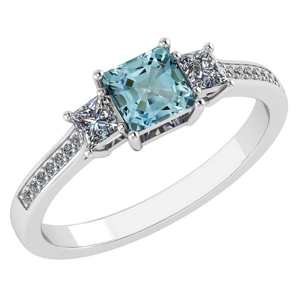 Lot 20161103: Certified 1.18 CTW Genuine Aquamarine And Diamond 14K White Gold Ring #PAPPS92397