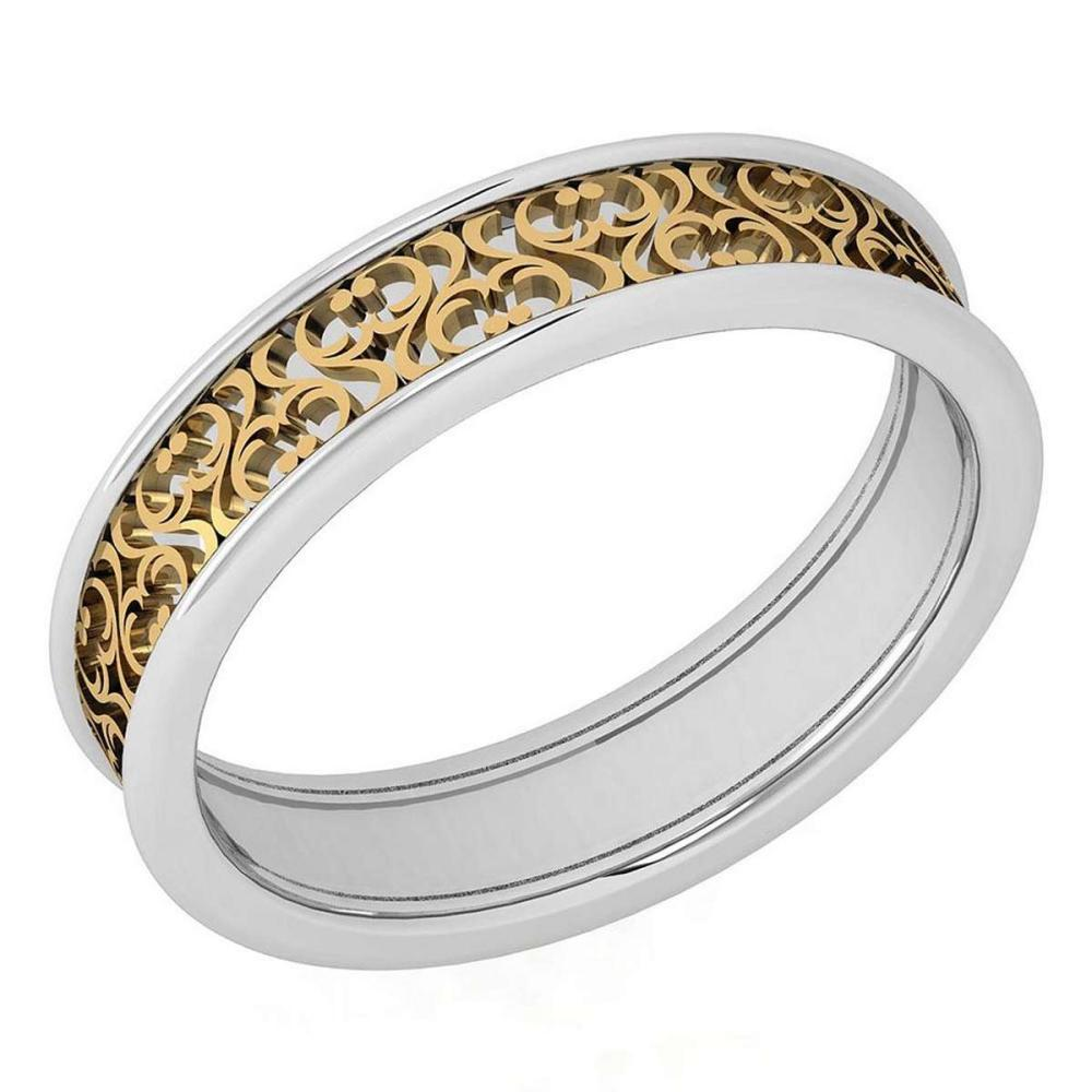 Lot 20161109: Stunning Filigree Engagement Band 18K White And Yellow Gold MADE IN ITALY #PAPPS21287