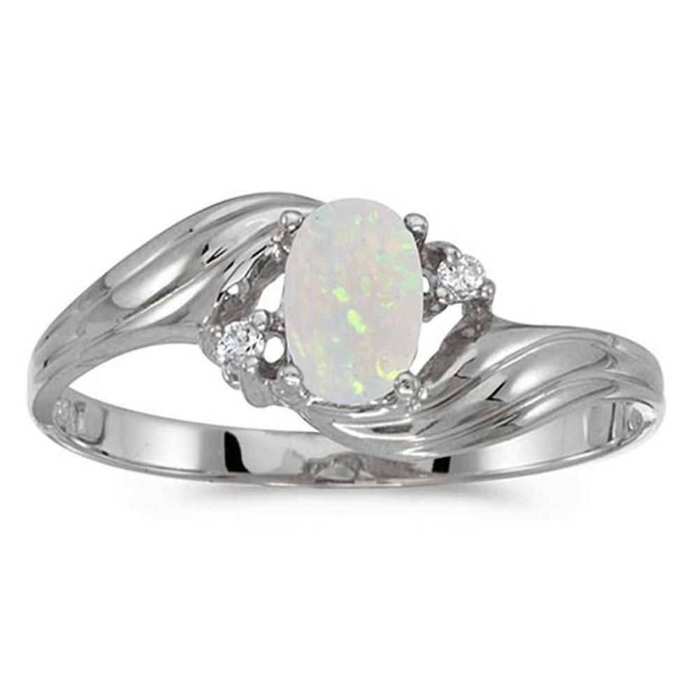 Lot 20161112: Certified 14k White Gold Oval Opal And Diamond Ring #PAPPS51501