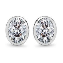 Lot 20161113: Certified 1.00 CTW Oval Diamond 14K White Gold Earring #PAPPS92290