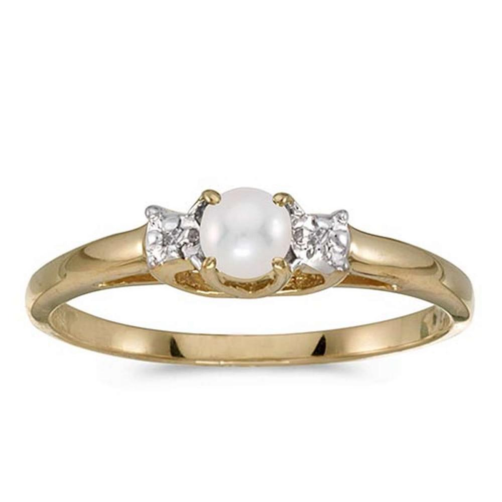 Lot 20161114: Certified 14k Yellow Gold Pearl And Diamond Ring #PAPPS51012