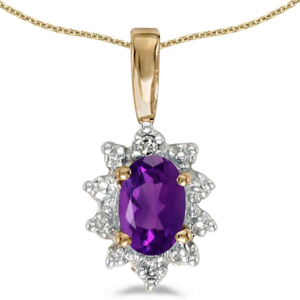 Certified 10k Yellow Gold Oval Amethyst And Diamond Pendant #PAPPS26009