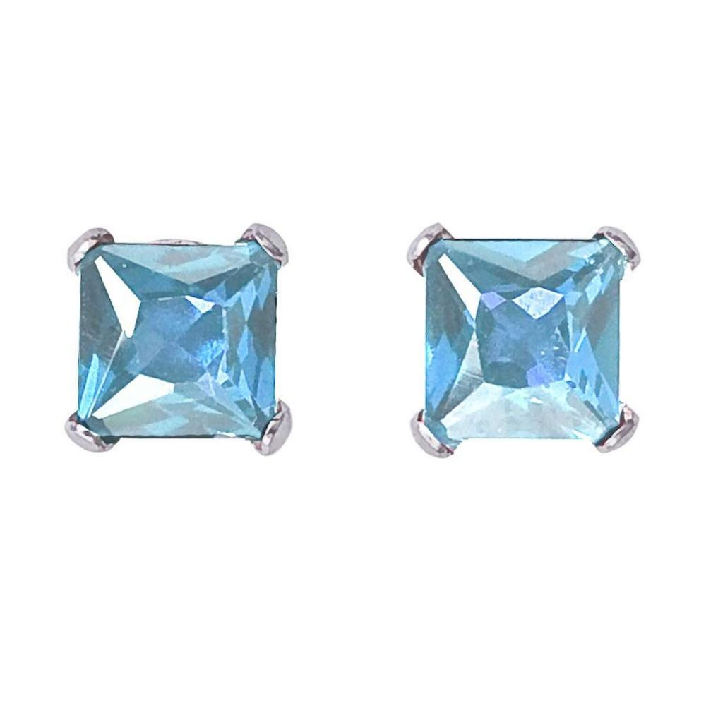 Lot 20161117: Certified 14k White Gold Square Aquamarine Stud Earrings #PAPPS26520