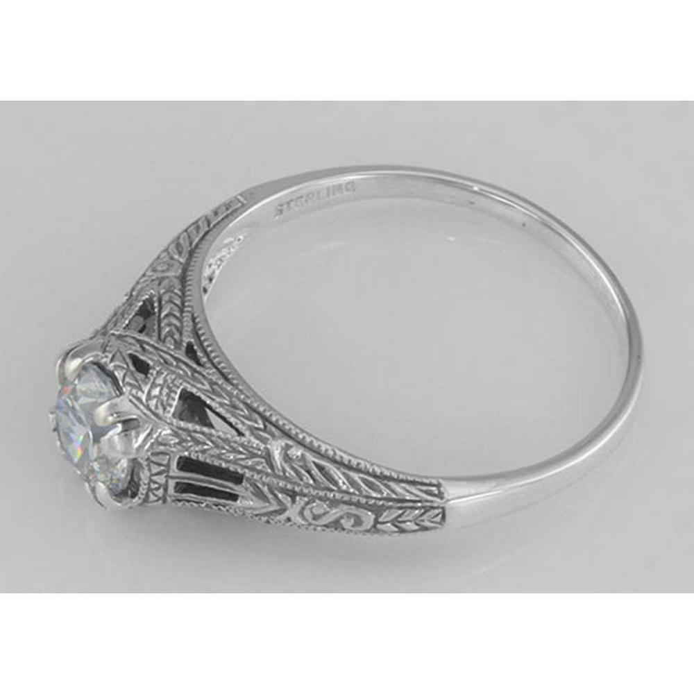 Lot 20161118: Antique Style CZ Filigree Ring Sterling Silver #PAPPS97719