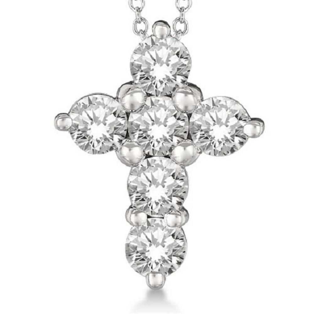 Lot 20161128: Prong Set Round Diamond Cross Pendant Necklace 14k White Gold (2.05ct) #PAPPS20896