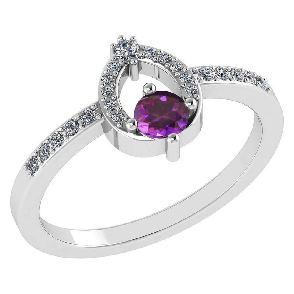 Lot 20161130: Certified .36 CTW Genuine Amethyst And Diamond (G-H/SI1-SI2) 14K White Gold Ring #PAPPS92930