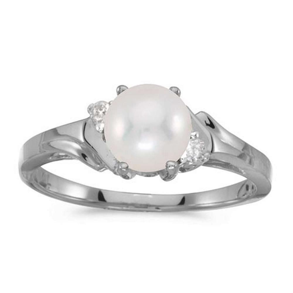 Lot 20161136: Certified 14k White Gold Pearl And Diamond Ring #PAPPS50805