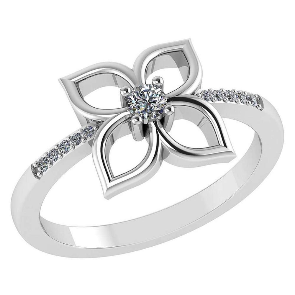 Certified .35 CTW Round Diamond 14K White Gold Ring #PAPPS92266