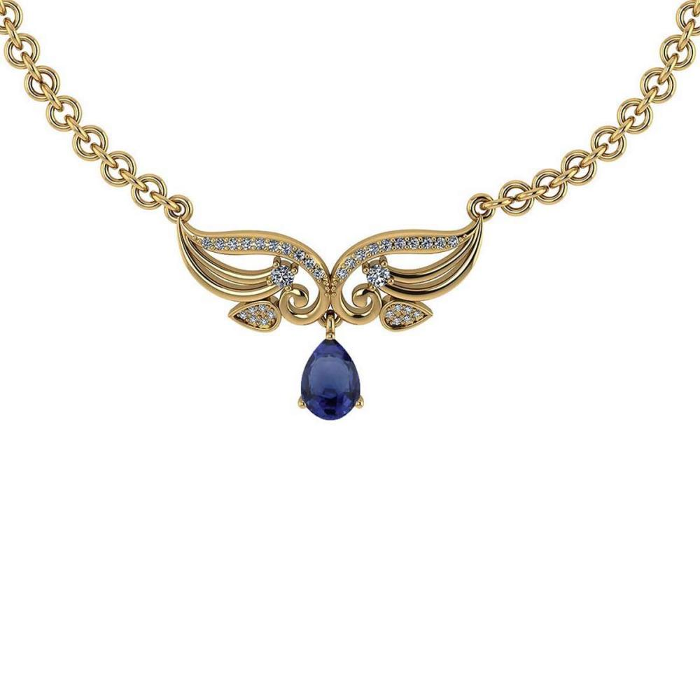 Lot 20161138: Certified 3.94 Ctw Genuine Blue Sapphire And Diamond 14K Yellow Gold Princess Necklace #PAPPS94592