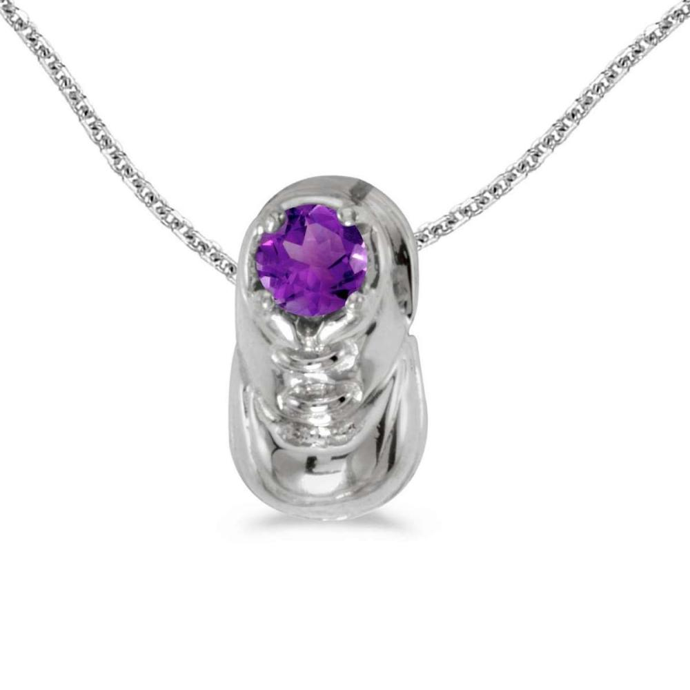 Lot 20161140: Certified 14k White Gold Round Amethyst Baby Bootie Pendant #PAPPS26088