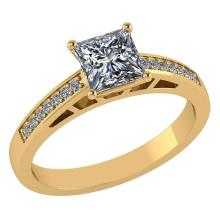Lot 20161141: Certified .64 CTW Princess Diamond 14K Yellow Gold Ring #PAPPS92244