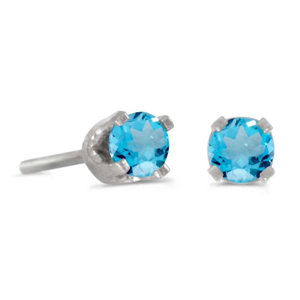 Lot 20161143: Certified 3 mm Petite Round Blue Topaz Stud Earrings in 14k White Gold 0.22 CTW #PAPPS25740