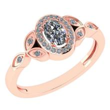 Lot 20161144: Certitifed 0.84 Ctw Diamond 14k Rose Gold Halo Ring #PAPPS97118