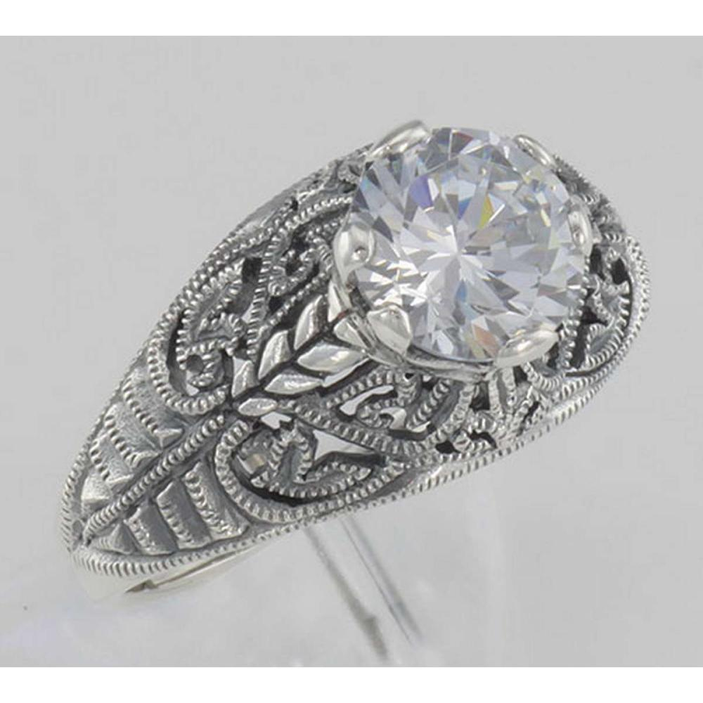 Classic Victorian Style Cubic Zirconia Filigree Ring - Sterling Silver #PAPPS97718