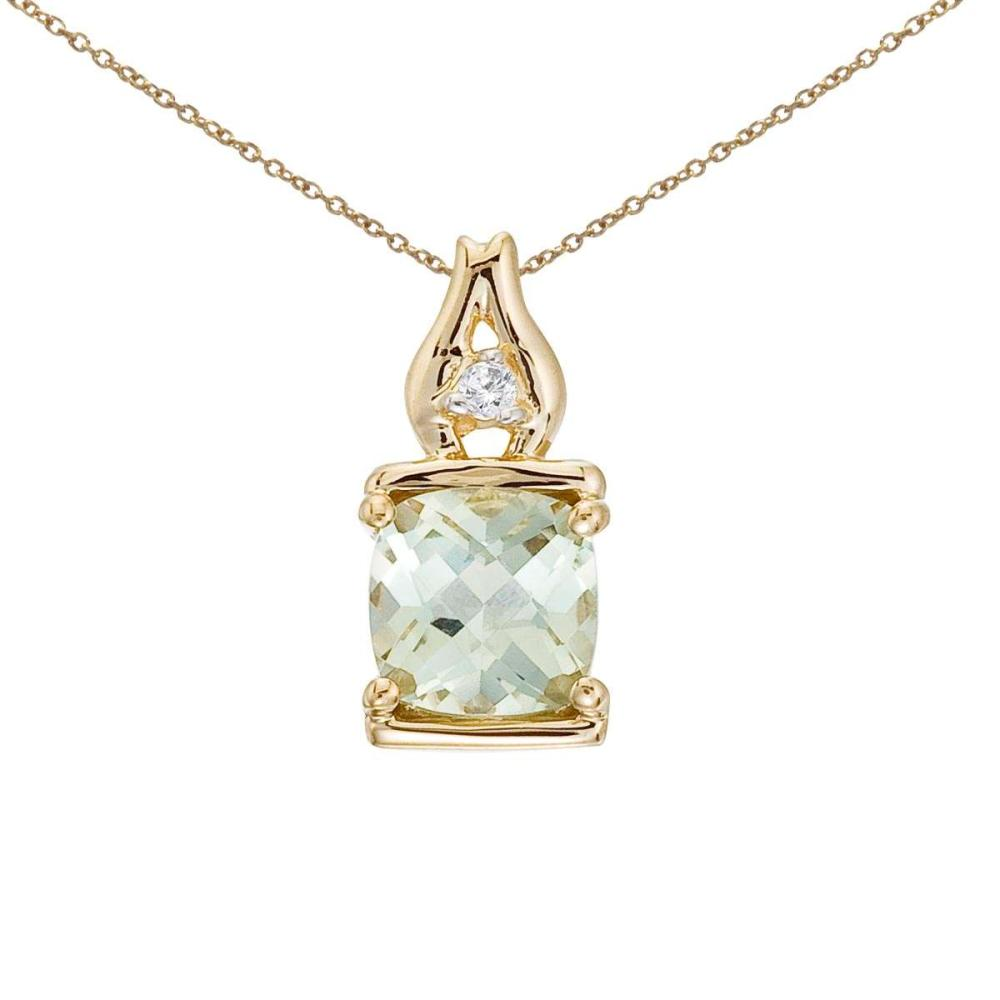 Certified 14K Yellow Gold Green Amethyst and Diamond Pendant #PAPPS26006