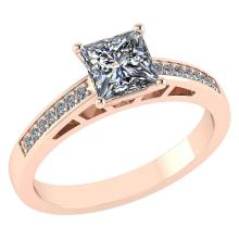 Lot 20161151: Certified .64 CTW Princess Diamond 14K Rose Gold Ring #PAPPS92243