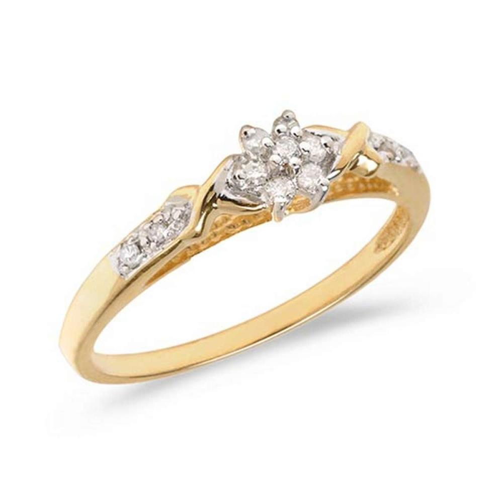 Certified 14K Yellow Gold Diamond Cluster Ring #PAPPS50764