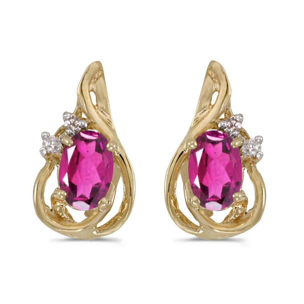 Lot 20161153: Certified 14k Yellow Gold Oval Pink Topaz And Diamond Teardrop Earrings 0.9 CTW #PAPPS25786