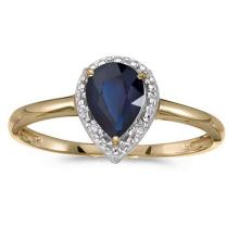 Lot 20161154: Certified 10k Yellow Gold Pear Sapphire And Diamond Ring #PAPPS51497