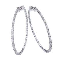 Lot 20161155: Certified 14K 1.2ct White Gold Diamond Secure Lock 50 mm Hoop Earrings #PAPPS26534