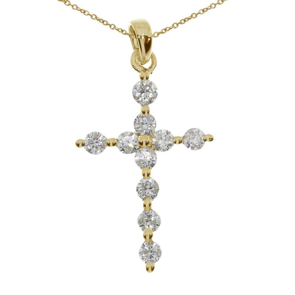 Lot 20161156: Certified 14K Yellow Gold Diamond Cross Pendant #PAPPS26241