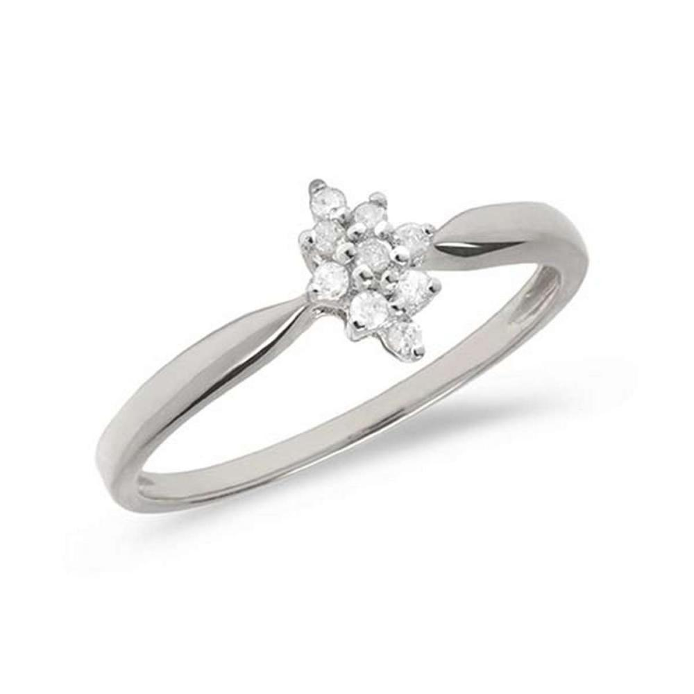Certified 10K White Gold Diamond Cluster Ring #PAPPS50792