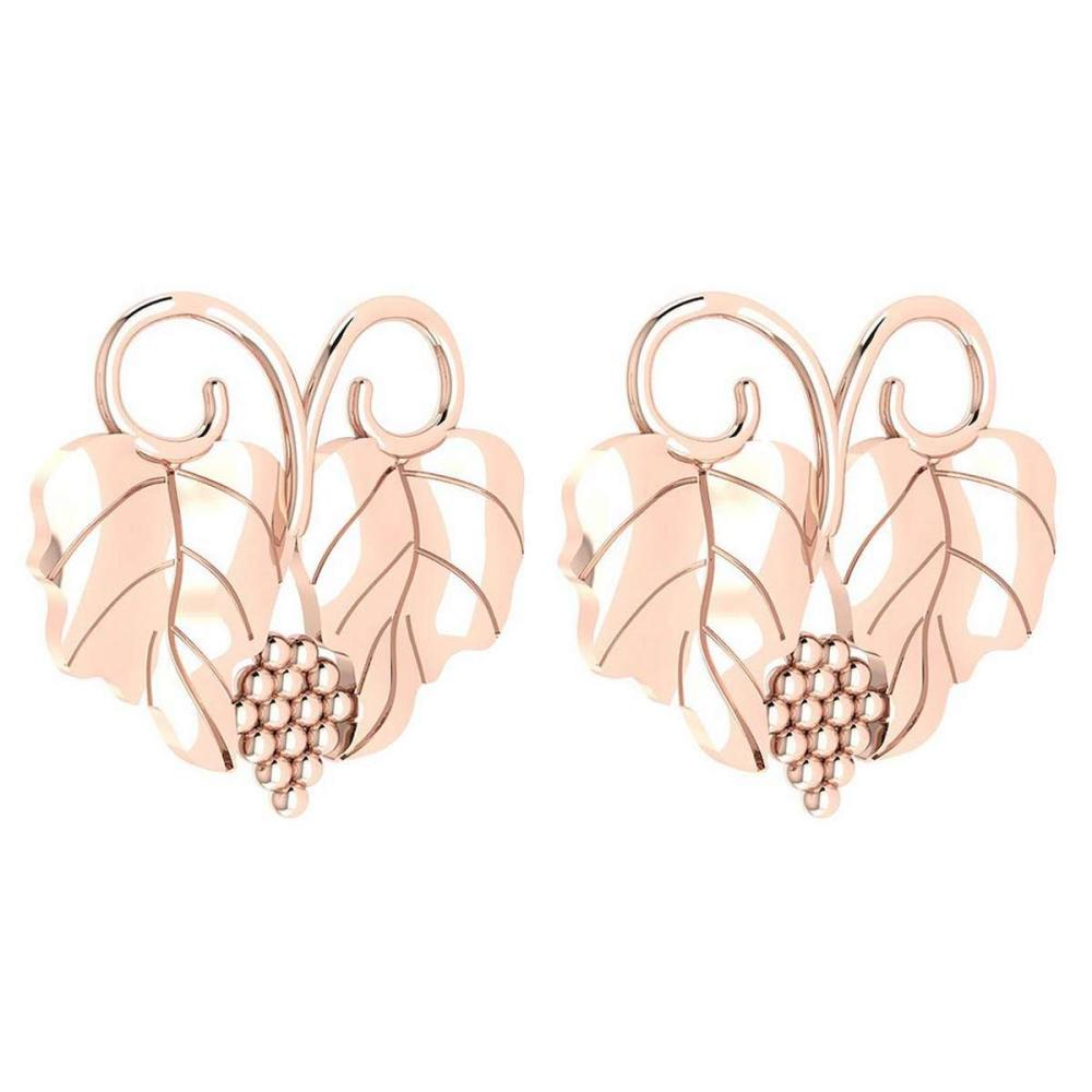 Graps Leaf Style Stud Earrings For beautiful ladies 14k Rose Gold MADE IN ITALY #PAPPS20255