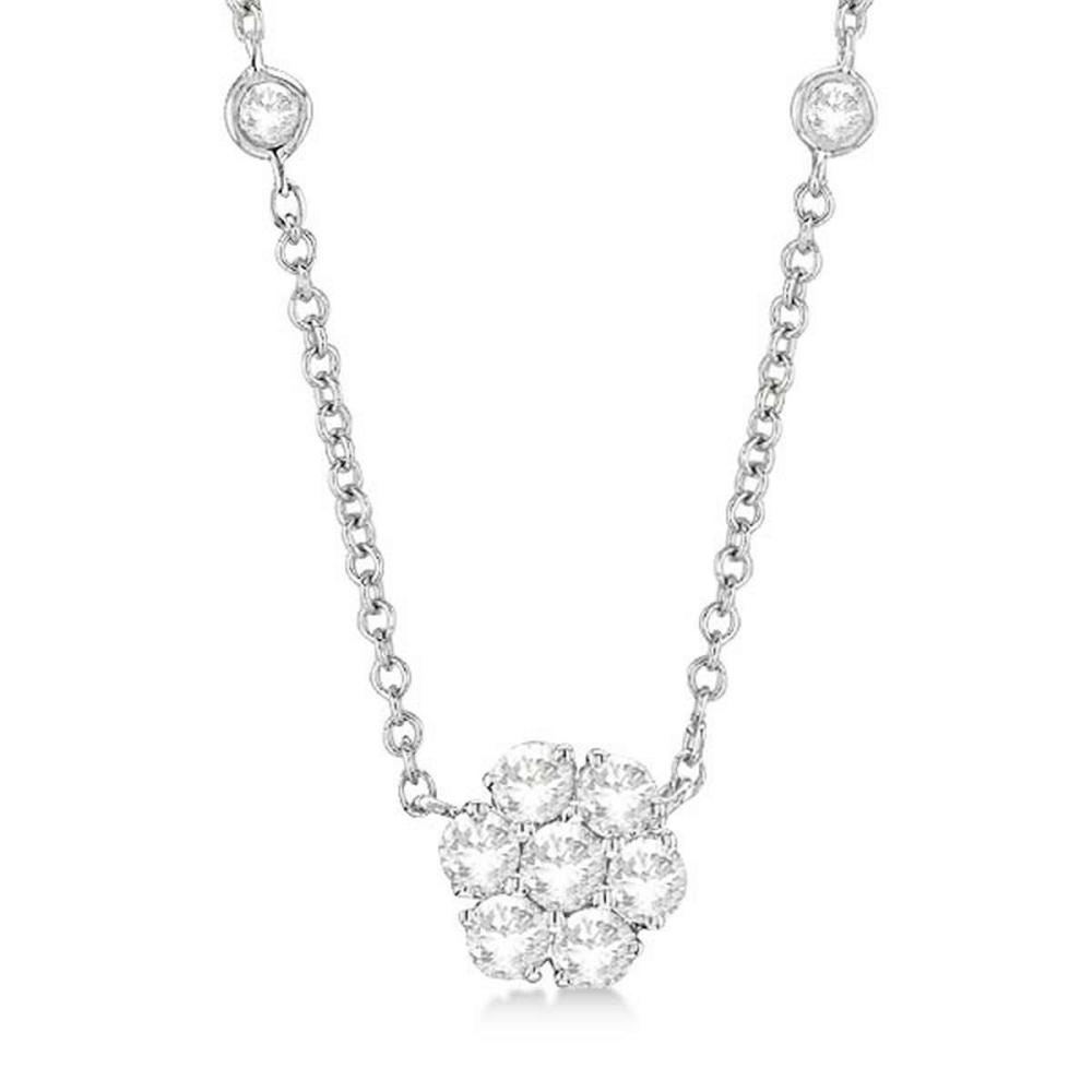 Lot 20161172: Flower Pendant Diamonds By The Yard Necklace 14k White Gold (1.00ct) #PAPPS20902