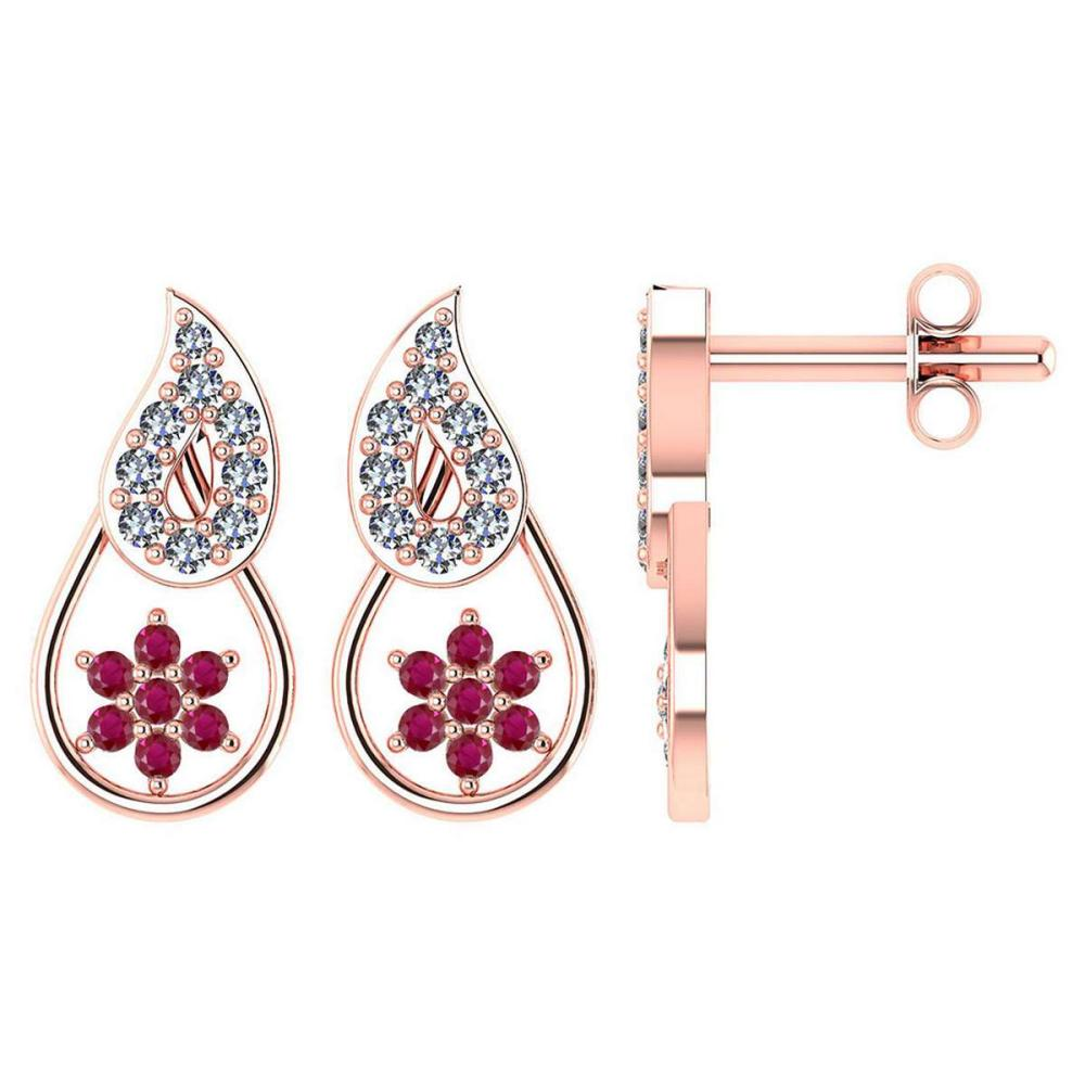 Lot 20161174: Certified .16 CTW Genuine Ruby And Diamond 14K Rose Gold Stud Earrings #PAPPS93610