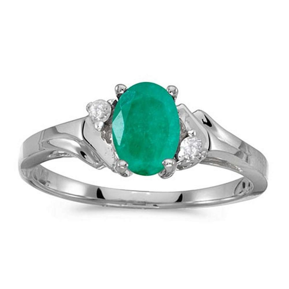 Certified 14k White Gold Oval Emerald And Diamond Ring #PAPPS50810