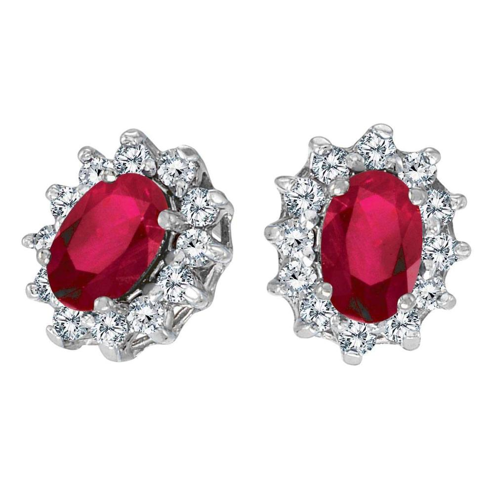Lot 20161177: Certified 14k White Gold Oval Ruby and .25 total ct Diamond Earrings #PAPPS26452