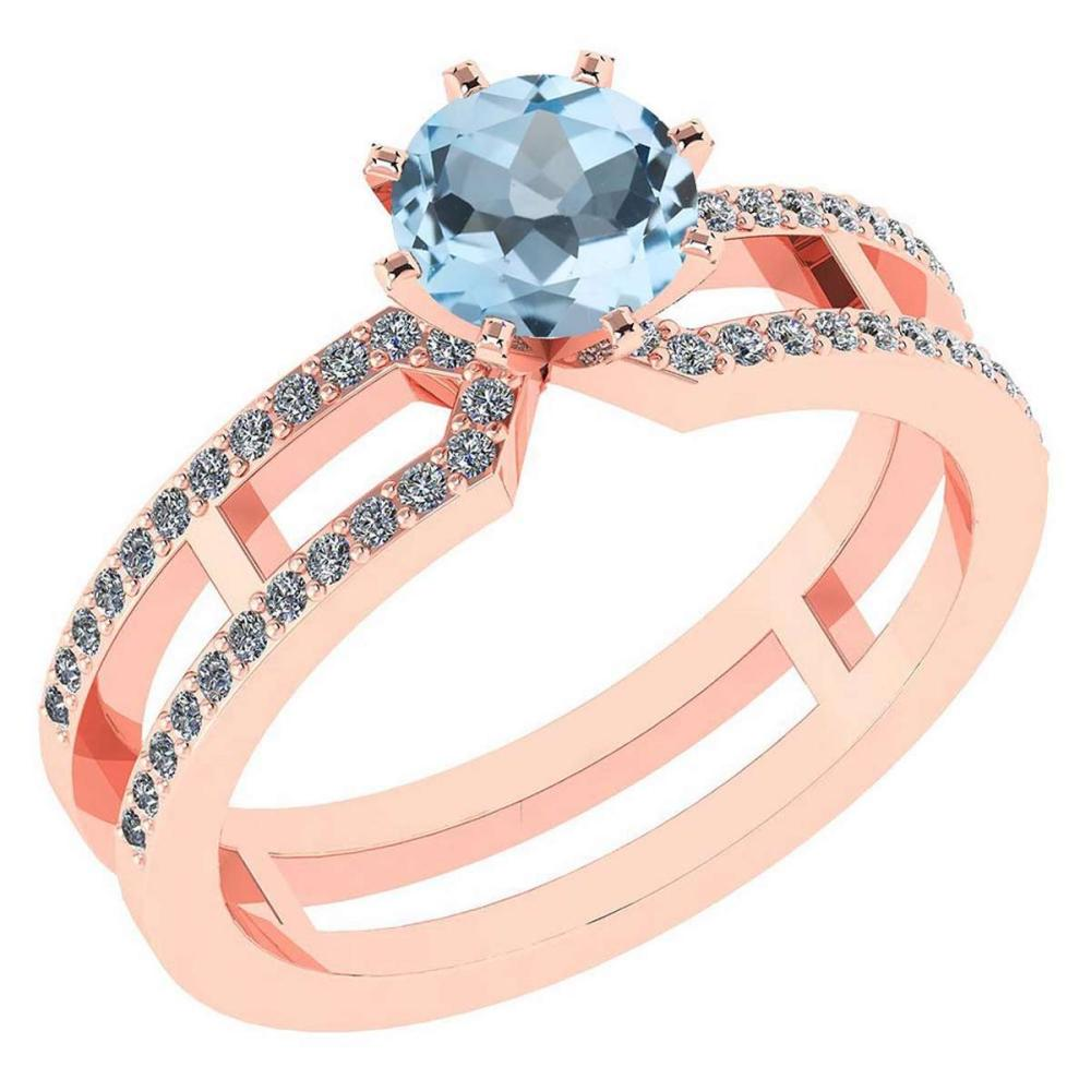 Lot 20161180: Certified 1.32 Ctw Genuine Aquamarine And Diamond 14k Rose Gold Engagement Ring #PAPPS94640