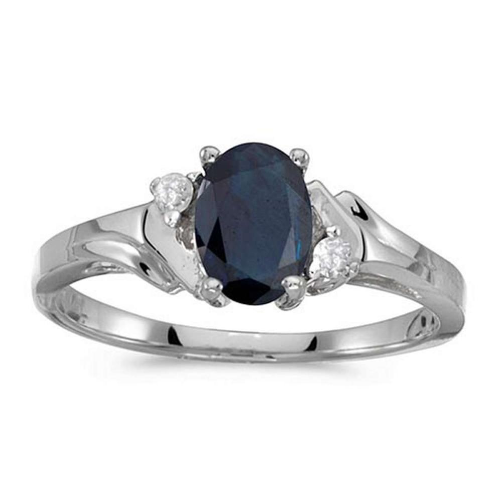 Lot 20161183: Certified 14k White Gold Oval Sapphire And Diamond Ring #PAPPS50783