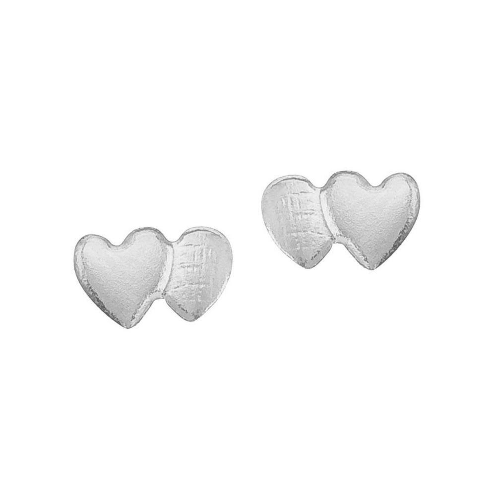 Lot 20161185: Certified 14K White Gold Baby Double Heart Screwback Earrings #PAPPS25791