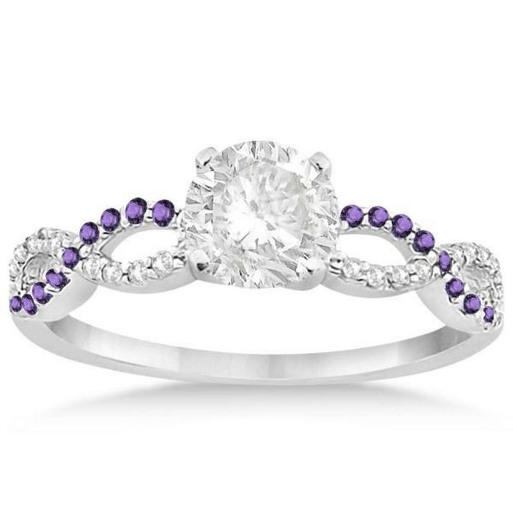 Lot 20161194: Infinity Diamond and Amethyst Engagement Ring in 14k White Gold (0.81ct) #PAPPS20865