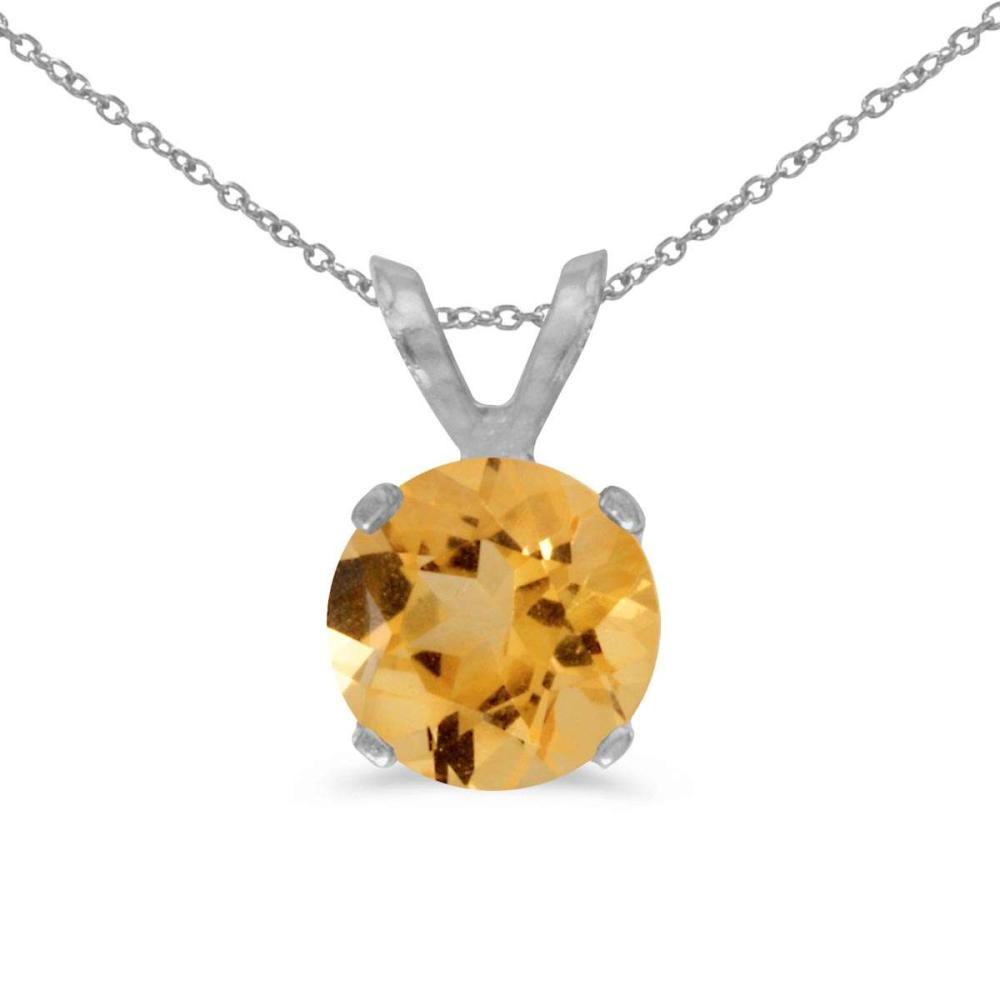 Lot 20161196: Certified 14k White Gold 6mm Round Citrine Stud Pendant (.60 ct) #PAPPS26475