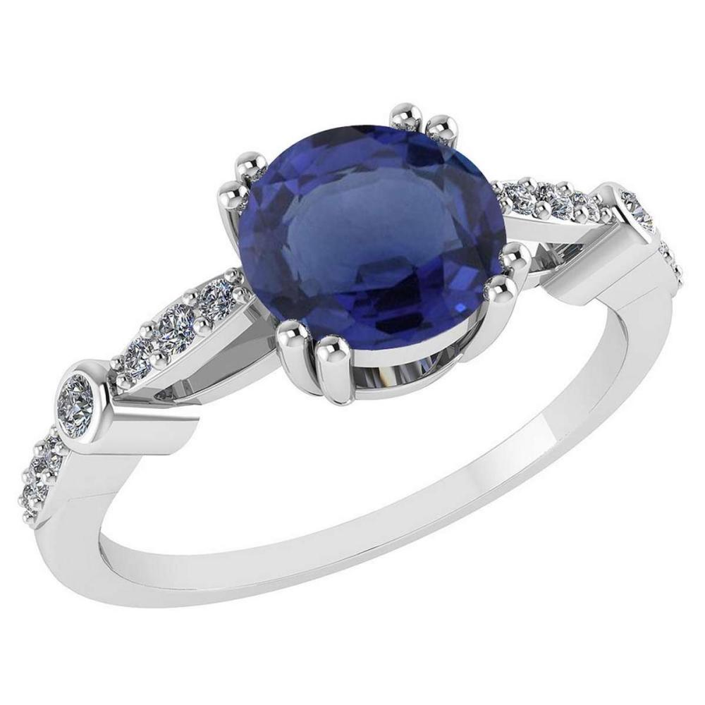 Certified .88 Ctw Genuine Blue Sapphire And Diamond 14K White Gold Rings #PAPPS92543